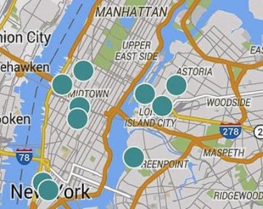 Screenshot of Hotels By Day coverage in the New York area