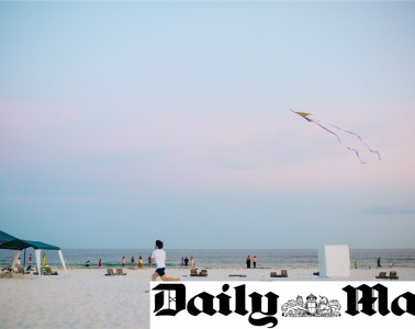 Daily Mail logo on a photo of a man flying a kite on the beach