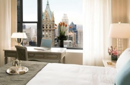 Hotel room overlooking city