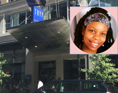 Photo of a woman's face on the photo of the entrance to Tryp hotel