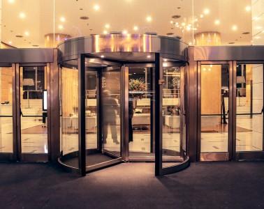 Revolving door entrance to a hotel