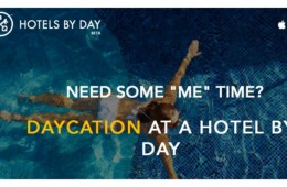 Hotels By Day banner with a woman in a swimming pool