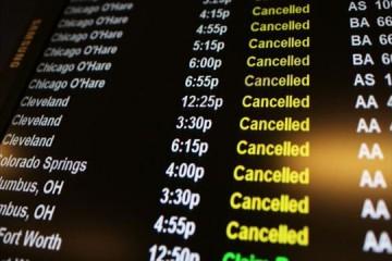 Departures list of cancelled flights