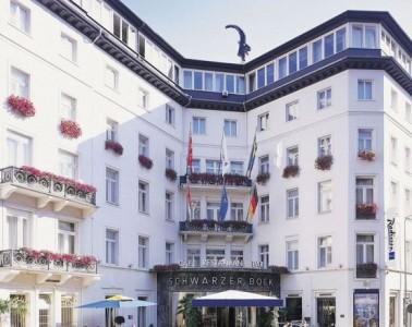 Exterior of Schwarzer Bock hotel in Wiesbaden