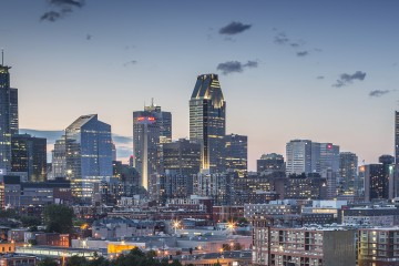 A shot of the city of Montreal in the evening