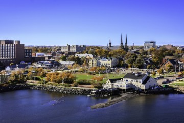 Aerial view of Charlottetown's shoreline