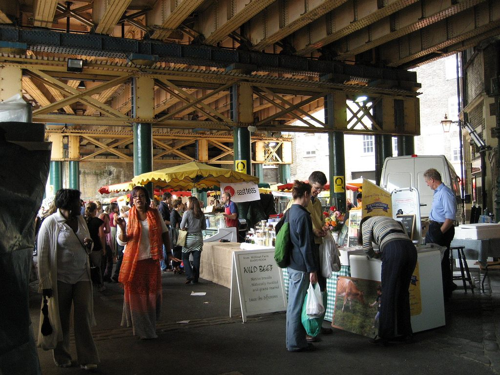 London's Borough market in another vibrant Saturday shopping scene.
