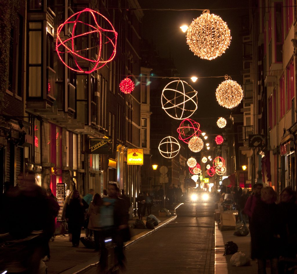 Nieuwe Hoogstraat Amsterdam decorated for Christmas and New Years.