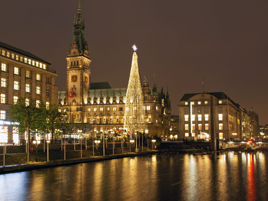 City Hall and Christmas tree by night in Hamburg, Germany.