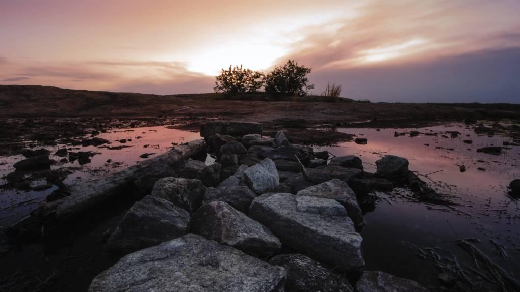Pinkish hue falls on the granite rocks of Arabia Mountain at sunset.
