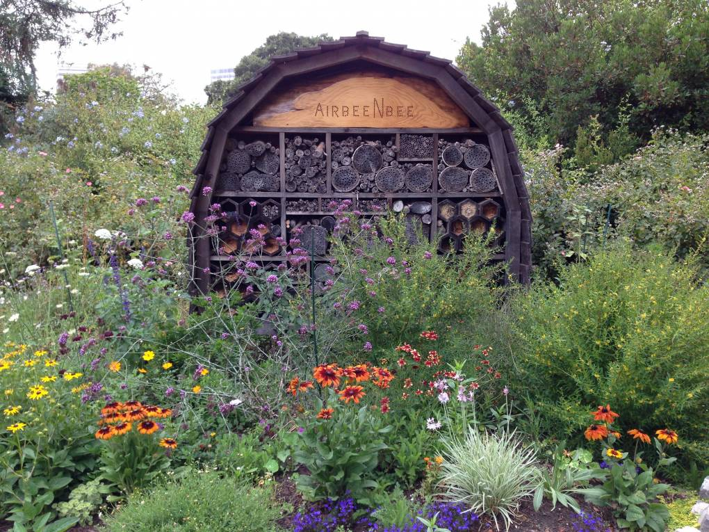 A bee hotel in The Gardens at Lake Merrit.