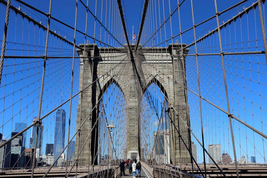 The Brooklyn Bridge with the Manhattan skyline backdrop