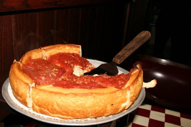 A big-crusted, nimble-cheesed deep dish pizza, the definition of bliss.