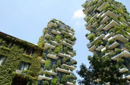 Buildings covered with green vegetation is an emerging eco trend in hospitality.