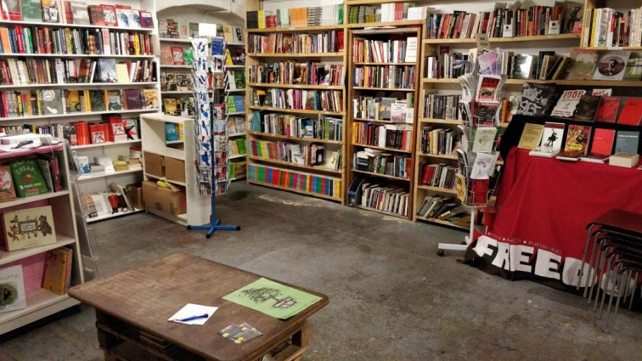 Shelves line the walls filled with books at Freedom Press, an independent bookstore in Whitechapel.