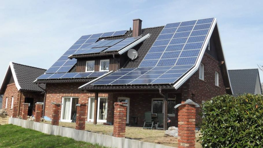 Solar installation on a newly built residential home in Germany.