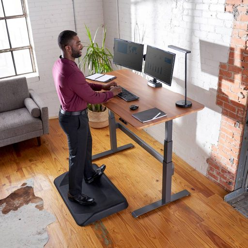 Remote worker stands at Varidesk Electric Pro with two monitors during the day.