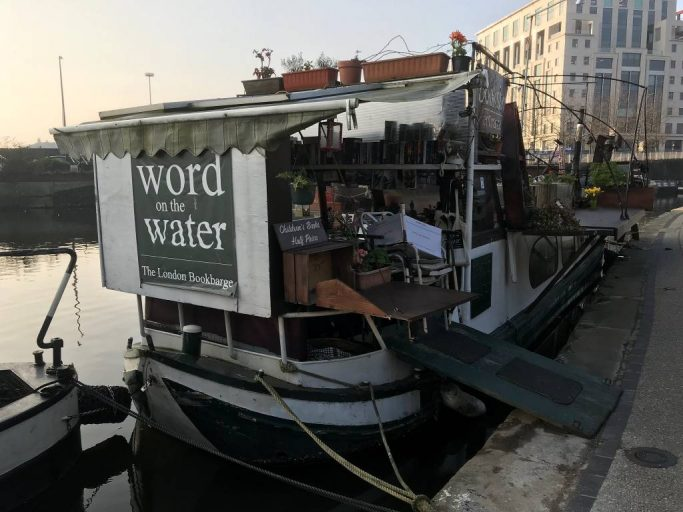 London's famous independent book barge, Word on the Water, docked in the Regent's Canal