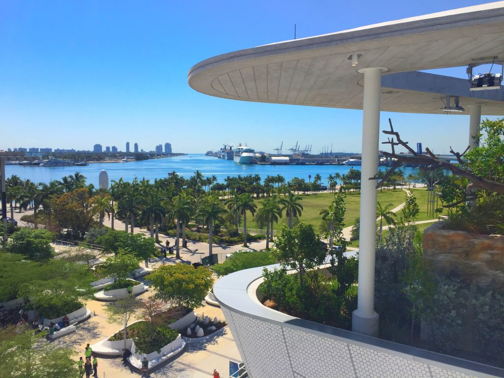 A look out from the Perez Art Museum Miami and Frost Science Museum