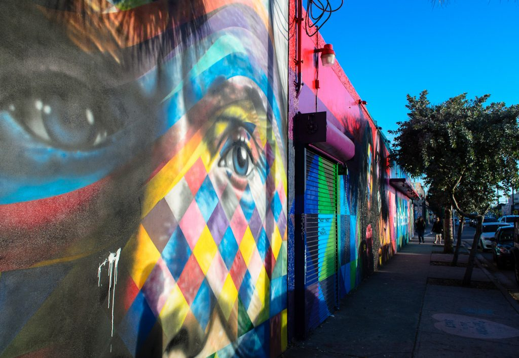 Colorful murals and street art abounds at the Wynwood Walls in Miami.